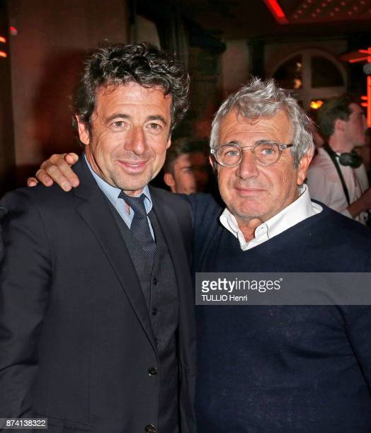 at the evening gala for the 80th birthday of Claude Lelouch Jean Dujardin Patrick Bruel and Michel Boujenah are photographed for Paris Match on...