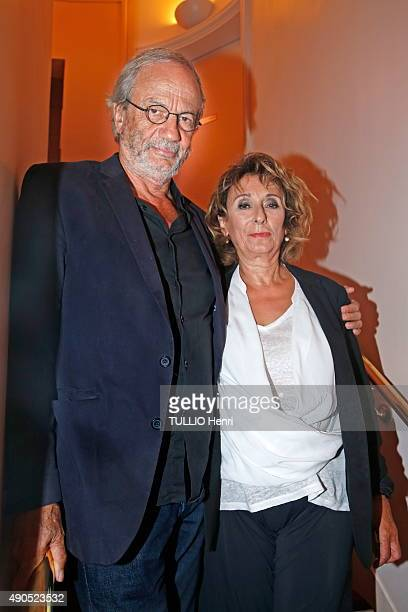 at the evening gala for the drama Le Mensonge at the theater EdouardVII Patrick Chesnais with his wife Josiane Stoleru on september 14 2015 in Paris...