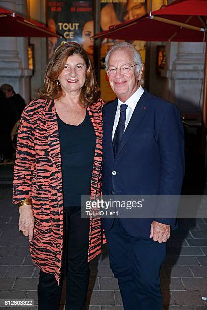 at the evening gala for the drama Tout ce que vous voulez at the theater EdouardVII Bernard Murat with his wife Andree ZanaMurat pose for Paris Match...