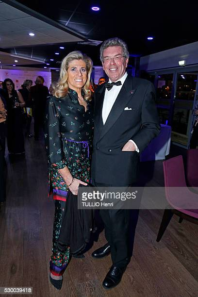 at the evening gala for the Fondation for Children organized by Regine Sixt Lea de Belgique and Alain Zenner are photographed for Paris Match on...