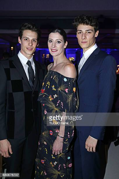 at the evening gala for the Foundation AEM for the kids of Rwanda Germain Louvet MarieAgnès Gillot and Hugo Marchand pose for Paris Match on...