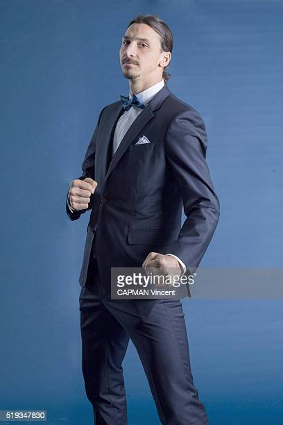 at the evening gala for the Foundation Paris SaintGermain Zlatan Ibrahimovic poses for Paris Match on march 15 2016 in Paris France