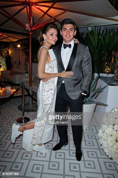 at the evening gala for The Harmonist Excellence Award Lola KarimovaTillyaeva and her husband Timur Tillyaev on may 22 2017 in Cannes France