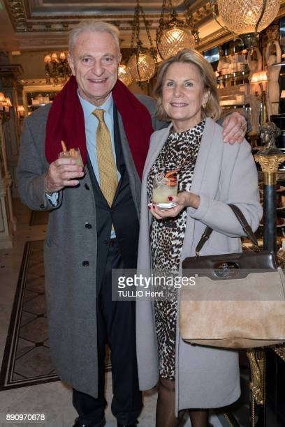 at the evening gala for the opening the Cafe Pouchkine Alain and Suzanne Flammarion are photographed for Paris Match at place de la Madeleine on...