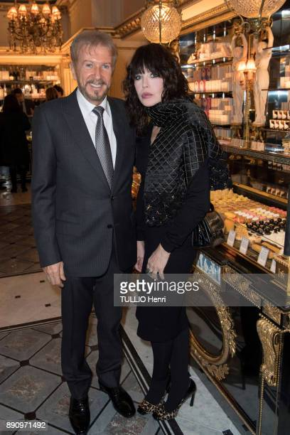 at the evening gala for the opening the Cafe Pouchkine Andrei Dellos and Isabelle Adjani are photographed for Paris Match at place de la Madeleine on...