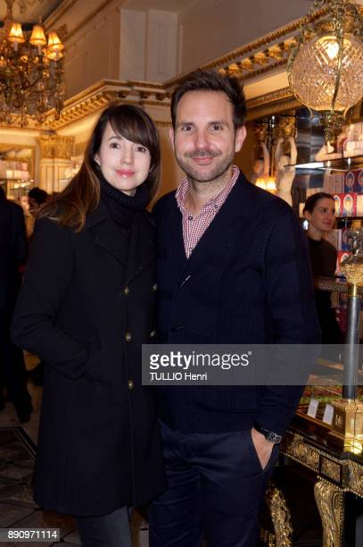 at the evening gala for the opening the Cafe Pouchkine Delphine Mac Carty and Christophe Michalak are photographed for Paris Match at place de la...
