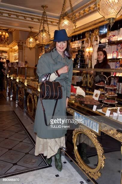 at the evening gala for the opening the Cafe Pouchkine Elsa Zylberstein is photographed for Paris Match at Place de la Madeleine on november 29 2017...