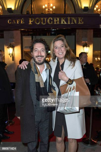 at the evening gala for the opening the Cafe Pouchkine Guillaume Gallienne and Marella Rossi are photographed for Paris Match at place de la...