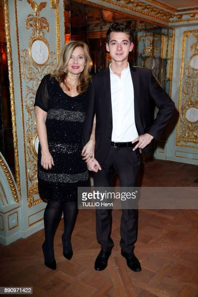 at the evening gala for the opening the Cafe Pouchkine Valerie Trierweiller and his son Leonard are photographed for Paris Match at Place de la...