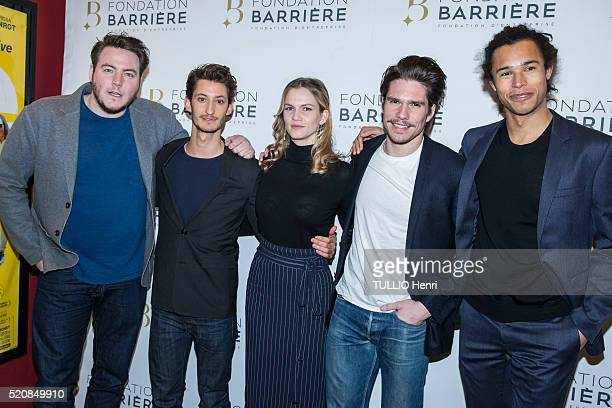 at the evening gala for the premiere of the film Five Igor Gotesman with the actors Pierre Niney Margot Bancilhon Francois Civland Idrissa Hanrot are...