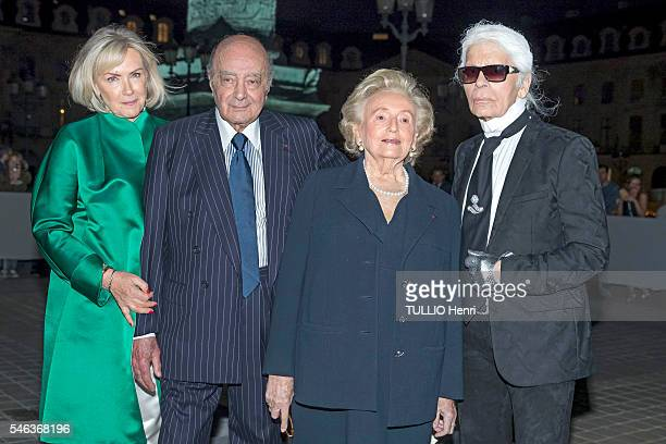 at the evening gala for the reopening of the Ritz Palace after 4 years of renovation Mohamed AlFayed with his wife Heini Wathen Bernadette Chirac and...