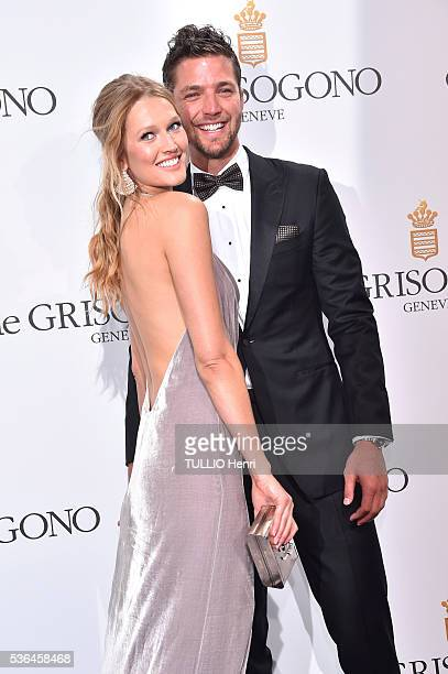at the evening gala of De Grisogono at the Hotel CapEdenRoc Toni Garn and Chandler Parsons are photographed for Paris Match on may 17 2016 in Antibes...