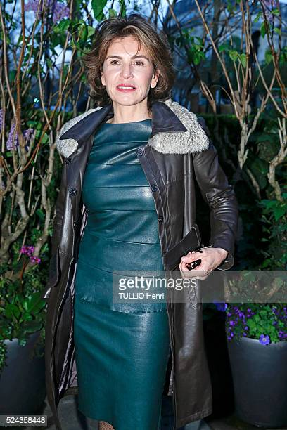 at the evening gala of La Closerie des Lilas 2016 price Anne Nivat is photographed for Paris Match on april 12 2016 in Paris France