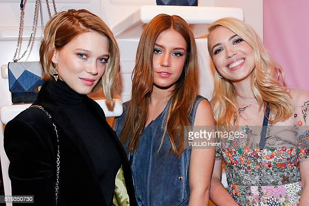 at the evening gala of the new collection Prismick Demin Camille Seydoux for Roger Vivier Lea Seydoux Adele Exarchopoulos and Camille Seydoux are...