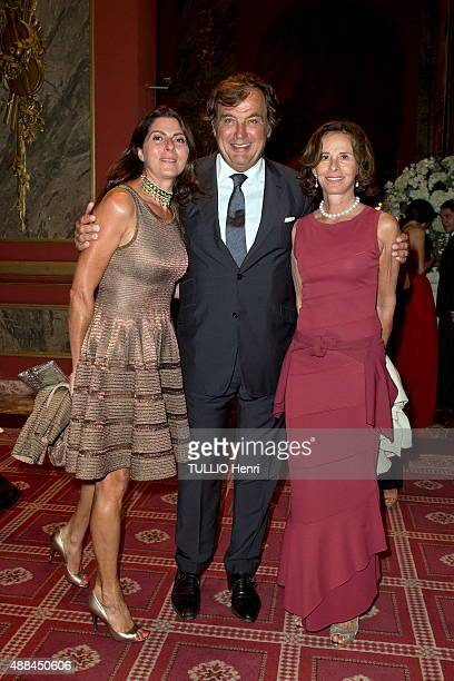 at the evening of the Foundation Care France in Deauville Casino Alexandre Vilgrain with his wife Denise and Dominique Arpels pose on august 29 2015...