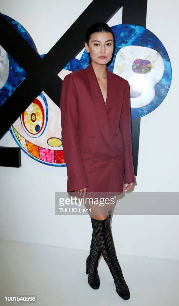 at the exhibition Technicolor 2 by Virgil Abloh and Takashi Murakami Amalie Gassmann is photographed for Paris Match on june 22 2018 in Paris France