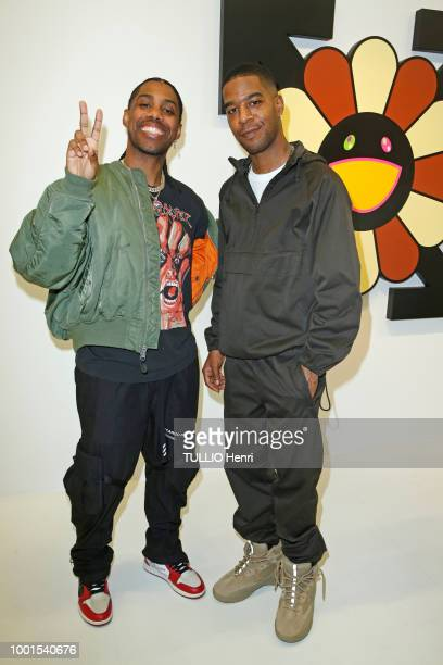 at the exhibition Technicolor 2 by Virgil Abloh and Takashi Murakami Reese Laflare and Kid Cudi are photographed for Paris Match on june 22 2018 in...