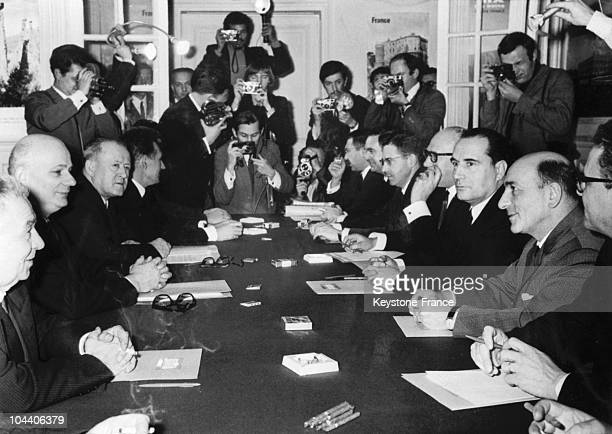 At the FGDS headquarters on rue de Lille in Paris The representatives of the Steering Committee for the French Communist Party are shown from left to...