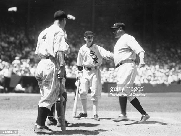 At the first AllStar game between the American and National Leagues held in Chicago's Comiskey Park Babe Ruth homers in the third inning with one on...