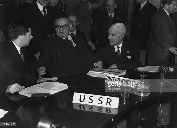 At the first meeting of the UNO Security Council, are the Russian statesman Andrei Andreevich Gromyko , British foreign secretary Ernest Bevin , and...