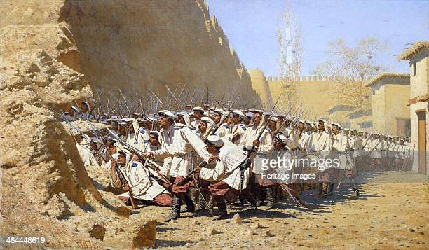 At the Fortress Walls Let them in' 1871 Vereshchagin Vasili Vasilyevich Found in the collection of the State Tretyakov Gallery Moscow