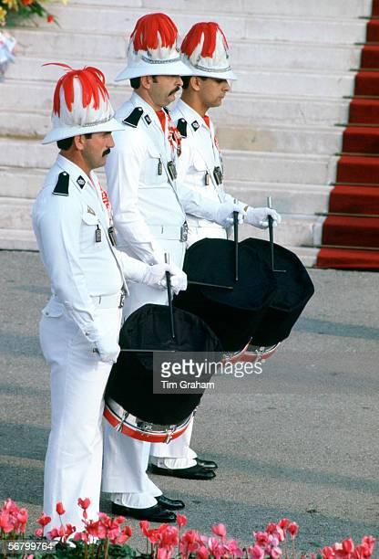 At the funeral of Princess Grace of Monaco soldiers beat black muffled drums for mourning