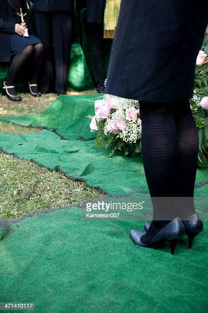 at the funeral (burial) - rest in peace stock photos and pictures