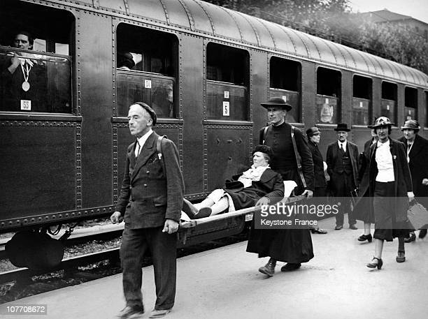 At The Gare D'Austerlitz With The Aid Of Stretchers Patients Are Transported In The 'White Train' Which Will Take Them To Lourdes August On August...