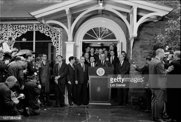 At the Glassboro Summit Conference, American President Lyndon Baines Johnson speaks from a lectern, Glassboro, New Jersey, June 23 -24, 1967. Among...