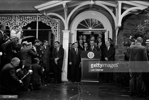 At the Glassboro Summit Conference, American President Lyndon Baines Johnson speaks from a lectern, Glassboro, New Jersey, June 23 - 25, 1967. Among...
