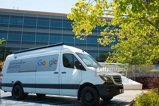 At the Googleplex headquarters of the search engine company Google in the Silicon Valley town of Mountain View California a van belonging to the...