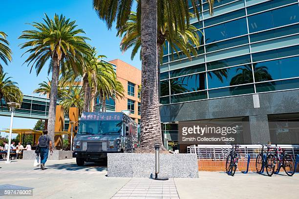 At the Googleplex headquarters of the search engine company Google in the Silicon Valley town of Mountain View California a food truck and several...