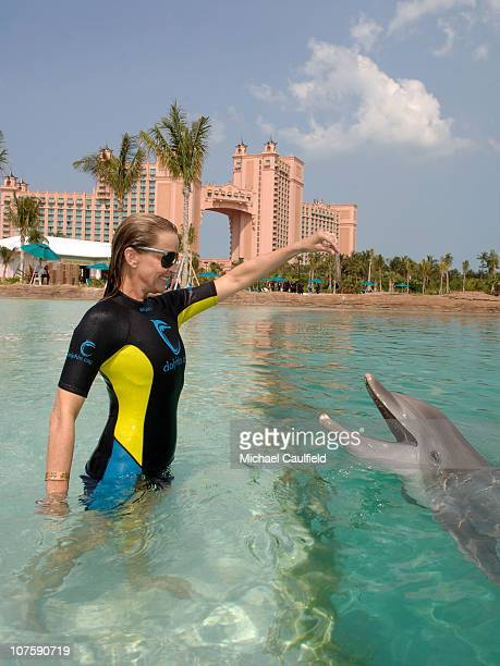 At the grand opening weekend for The Cove Atlantis Bo Derek spent some quality time with the 16 Katrina dolphins now living at Dolphin Cay the...