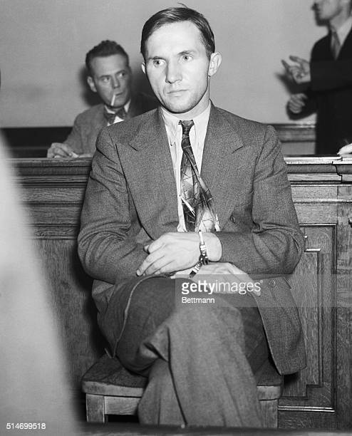 At the Greenwich Street police station Bruno Hauptmann main suspect in the Charles Lindbergh baby kidnapping awaits questioning He will be...