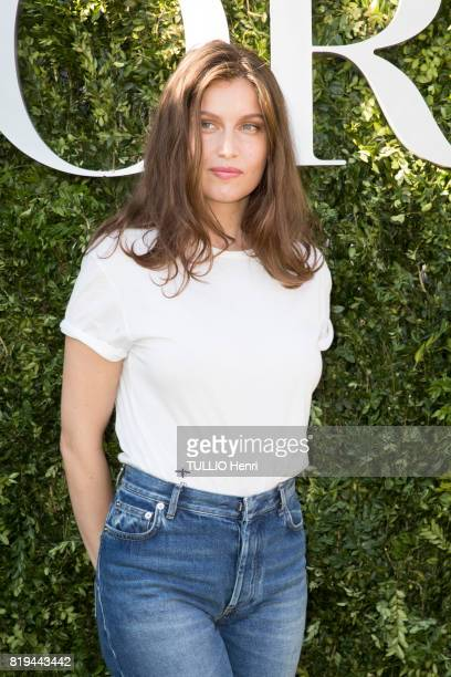 at the Inauguration of the exhibition 'Christian Dior Celebrates 70 Years of Creation' at the Musee des Arts Laetitia Casta on july 03 2017 in Paris...