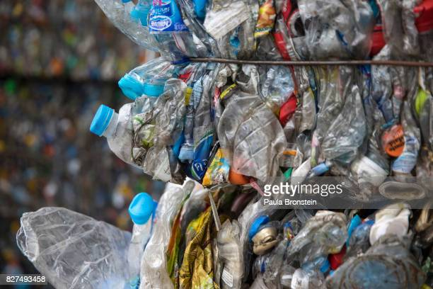 At the Indorama Ventures factory flattened plastic bottles bottles are stacked in bales for recycling before being moved into the factory for...
