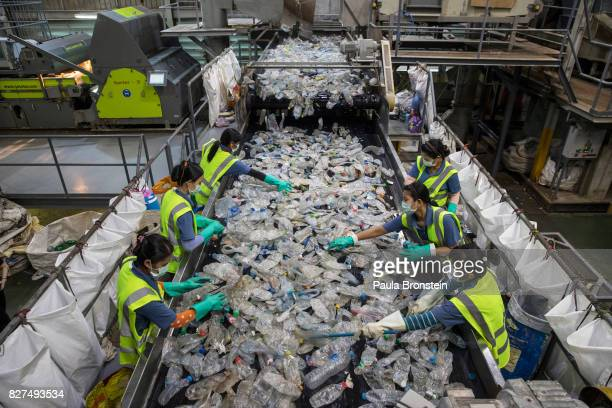 At the Indorama Ventures factory flattened plastic bottles that have been steam cleaned are sorted by factory employees as they move along on a...