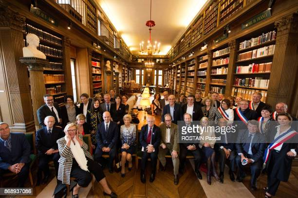 at the Libary of Institut de France with JeanMichel Blanquer Andrei Makine Michael Edwards Daniele Sallenave Hellene Carrere d'Encausse Erik Orsenna...