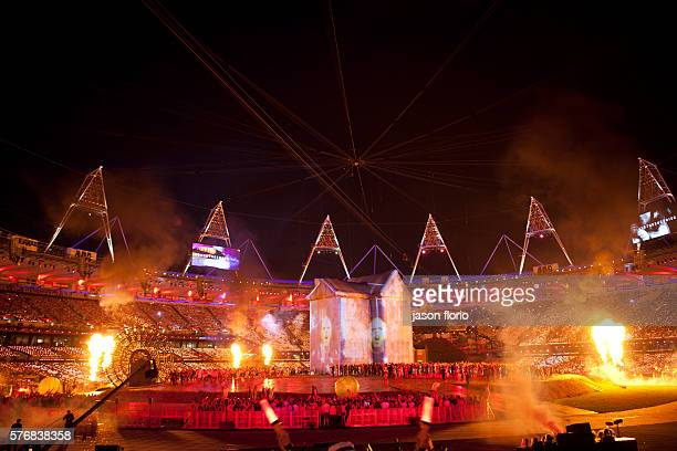 At the London Olympics opening rehearsal ceremony images of the band The Prodigy are projected onto a giant house as part of a tribute to the UK's...