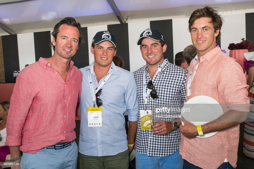 MC at the Magic Millions Polo Hamish McLachlan with three polo players/brothers, Alec, Jasper and William White attend Magic Millions Polo on January 7, 2018 in Gold Coast, Australia.