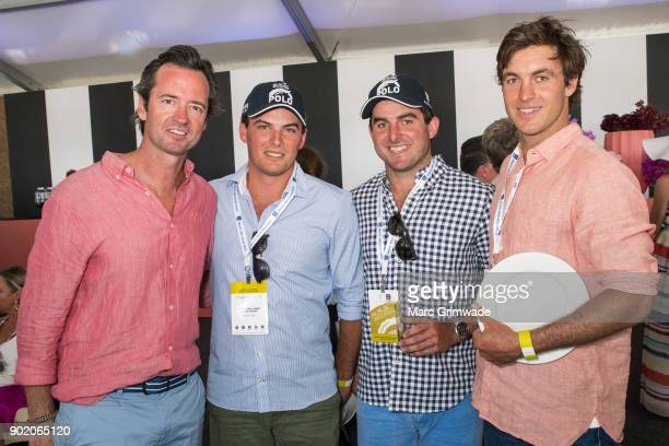 MC at the Magic Millions Polo Hamish McLachlan with three polo players/brothers Alec Jasper and William White attend Magic Millions Polo on January 7...