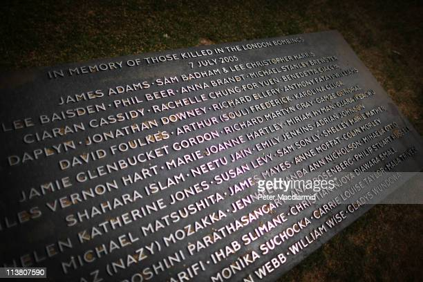 At the memorial to victims of the July 2005 London bombings the names of the 52 victims are displayed in Hyde Park on May 6 2011 in London England On...