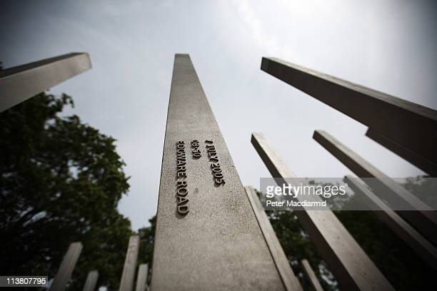 At the memorial to victims of the July 2005 London bombings the locations of the four bombs are displayed on metal columns in Hyde Park on May 6 2011...