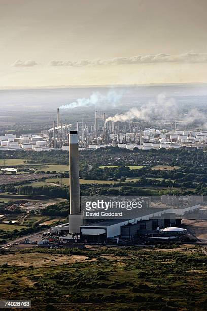 At the mouth of Southampton Water stands Fawley Power Station in this aerial photo taken on 5th September 2006