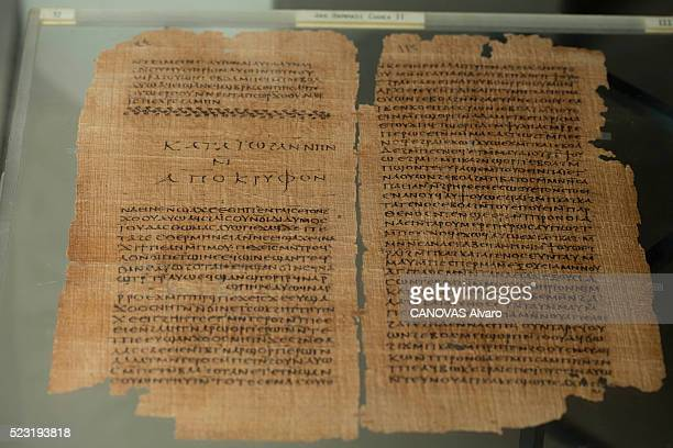at the Museum of Cairo Copte a Coptic papyrus Nag Hammadi fourth century is photographed for Paris Match on april 07 2016 in Cairo Egypt