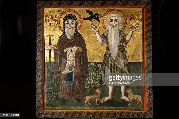 at the Museum of Cairo Copte an icon of the monastery Abu Sefein representing Anthony the Great visiting Paul of Thebes is photographed for Paris...
