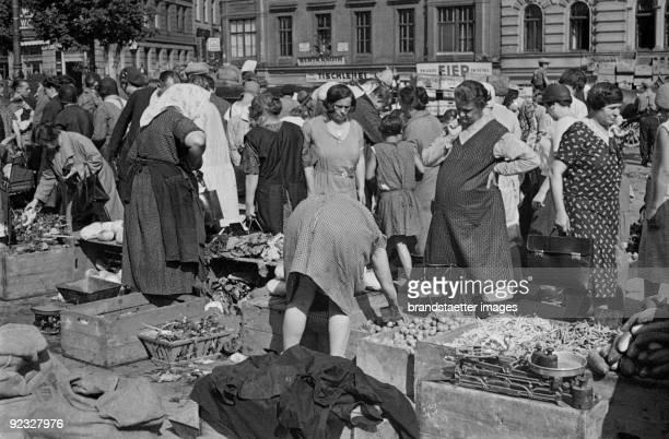 At the Naschmarkt the popular market near Vienna's Inner City Wienzeile Vienna Photograph Around 1935