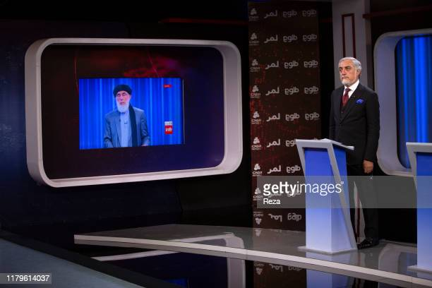 At the network TOLO televised debate Dr. Abdullah Abdullah in the studio. The third candidate, Ashraf Ghani, current president of the country,...