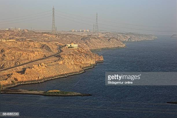 At the new dam at Aswan High Dam on the Nile, Africa, Upper Egypt, the beginning of the Lake Nasser.