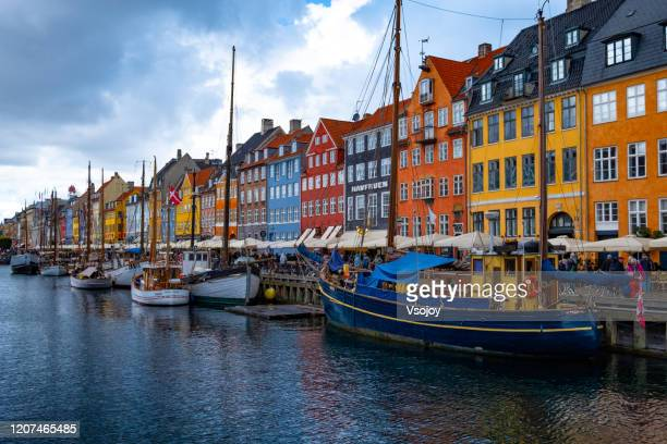 at the nyhavn harbour, copenhagen, denmark - vsojoy stock pictures, royalty-free photos & images